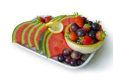 Fresh fruit plate Stock Photography