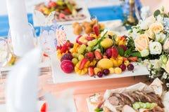 Fresh fruit platter Stock Photo