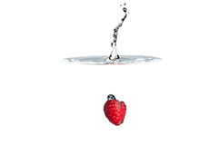 Fresh Fruit. Raspberry falling into clear water Royalty Free Stock Images