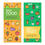 Fresh Fruit Raw Food Flyer Banner Posters Card Set. Vector Stock Photos