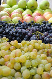 Fresh fruit. Red and green grapes and apples Royalty Free Stock Photos