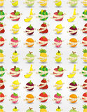 Fresh fruit and ruler health seamless pattern Royalty Free Stock Image