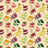 Fresh fruit and ruler health seamless pattern Stock Photos