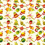 Fresh fruit and ruler health seamless pattern Royalty Free Illustration