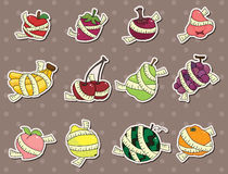 Fresh fruit and ruler health stickers stock illustration
