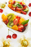Fresh fruit salad. With strawberry, kiwi, orange, melon and cherry Royalty Free Stock Image