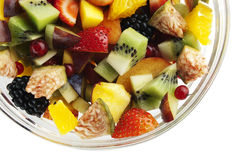 Fresh fruit salad close up. On white background Stock Photography