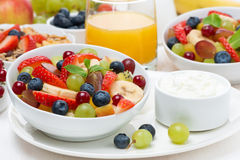 Fresh fruit salad and cream for breakfast. Horizontal Royalty Free Stock Images