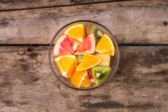 Fresh fruit salad in glass bowl. Stock Images