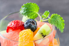 Fresh fruit salad in glass. Close up Royalty Free Stock Image