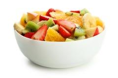 Fresh fruit salad isolated on white. Stock Images