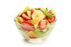 Fresh fruit salad isolated on white. Royalty Free Stock Photos