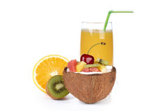 Fresh fruit salad and juice. Stock Images
