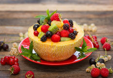 Fresh fruit salad in the melon royalty free stock photo