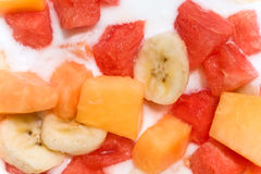 Fresh fruit salad with milk Royalty Free Stock Images