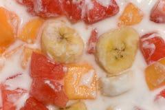 Fresh fruit salad with milk Royalty Free Stock Image