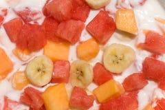 Fresh fruit salad with milk Stock Photos