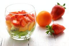 Fresh fruit salad. Fruit salad with mixed fruit close up Stock Image