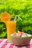 Fresh fruit salad and orange drink Stock Images