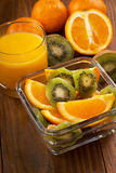 fresh fruit salad and orange juice Stock Photos