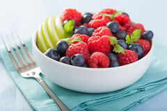 Fresh fruit salad with raspberry blueberry apple Stock Images