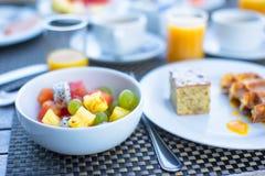 Fresh fruit salad, waffles, cake, coffee and juice Royalty Free Stock Photo