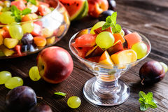 Fresh fruit salad with watermelon, plums, nectarines and grape Stock Photos