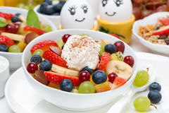 Fresh fruit salad with whipped cream Royalty Free Stock Image