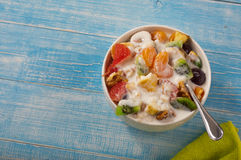 Fresh fruit salad and yogurt Stock Images