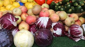 Fresh fruit for sale at vegetable market Stock Photos