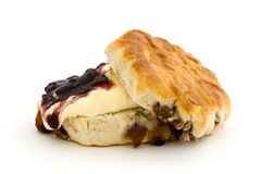 Fresh fruit scone with clotted cream and jam Stock Photo