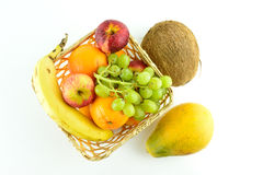 Fresh fruit. A selection of fresh fruits in a basket Stock Images