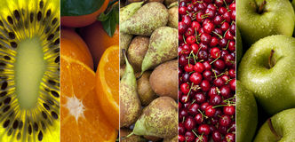 Fresh Fruit. A selection of fresh Fruit - Kiwifruit, Oranges, Pears, Red Cherries and Apples Royalty Free Stock Photography