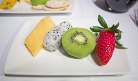 Fresh Fruit served on a plate Stock Photography