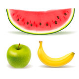 Fresh fruit set on white background Stock Photography