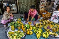 Fresh fruit in the shop, Xom Chieu Market, Saigon, South of Vietnam stock photography