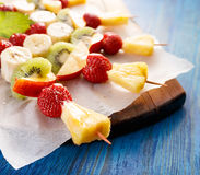 Fresh Fruit skewers, healthy and delicious snack royalty free stock images