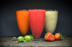 Fresh fruit smoothies. A Fresh fruit color smoothies Stock Images