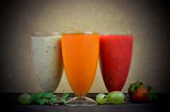 Fresh fruit smoothies. A Fresh fruit color smoothies stock image