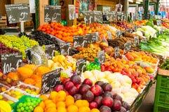 Fresh fruit stall on a city market Stock Photo