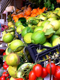Fresh Fruit Stand. Fresh fruits and vegetables on sale in a fruit stand in Taormina Sicily Stock Photography