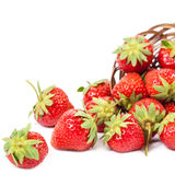 Fresh fruit strawberries on white background. Stock Images