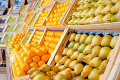 Fresh fruit at supermarket Stock Images