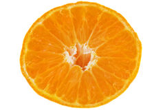 Fresh fruit tangerine slice. Macro shooting isolated over white background Stock Images