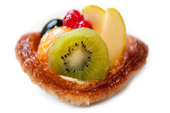 Fresh fruit tart on white background Royalty Free Stock Image