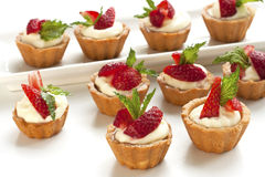 Fresh fruit tarts on white background Stock Photo