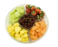 Fresh fruit tray on a white background Royalty Free Stock Image