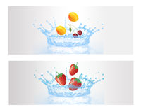 Fresh Fruit in the Splash Water Royalty Free Stock Image