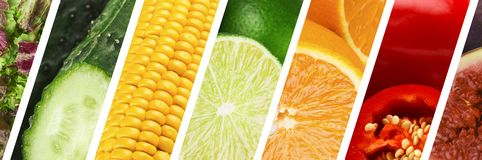 Fresh fruit and vegetable collage, healthy food. Summer colors. Fresh fruit and vegetable collage, healthy food, panorama royalty free stock images