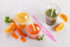 Fresh fruit and vegetable juice Stock Photography